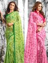 image of Lenitive Combo of 2 Georgette Fabric Floral Print Sarees