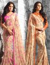 image of Colorful Floral Print Casual Wear Combo of 2 Georgette Sarees