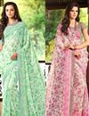 image of Attractive Fancy Print Combo of 2 Chiffon Sarees