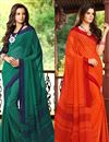 image of Luring Set of 2 Fancy Print Chiffon Sarees