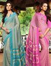 image of Vibrant Set of 2 Casual Print Chiffon Sarees