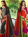 image of Prismatic Casual Wear Combo of 2 Chiffon Sarees