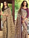 image of Classy Set of 2 Fancy Print Chiffon Sarees