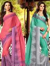 image of Chromatic Combo of 2 Casual Wear Printed Chiffon Sarees