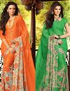 image of Attractive Set of 2 Casual Print Chiffon Sarees