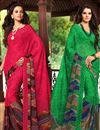 image of Beguiling Set of 2 Fancy Print Chiffon Sarees