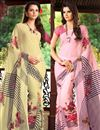 image of Fascinating Combo of 2 Casual Wear Printed Chiffon Sarees