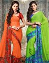 image of Captivating Chiffon Combo of 2 Sarees