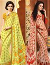 image of Beautiful Fancy Print Combo of 2 Sarees in Chiffon Fabric