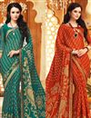 image of Delightful Casual Printed Chiffon Set of 2 Sarees