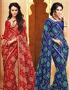 image of Enticing Set of 2 Fancy Print Sarees in Chiffon Fabric