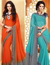 image of Beaming Fancy Print Combo of 2 Sarees in Chiffon Fabric