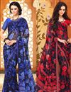image of Ebullient Set of 2 Fancy Print Sarees in Chiffon Fabric