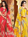 image of Delightful Set of 2 Fancy Print Sarees in Chiffon Fabric