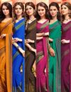 image of Elating Combo of 6 Crepe Silk Fabric Printed Sarees