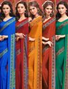 image of Alluring Combo of 5 Crepe Silk Fabric Party Wear Sarees