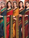image of Crepe Silk Fabric Invigorating Combo of 5 Regular Wear Sarees