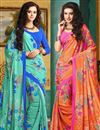 image of Comforting Combo of 2 Printed Sarees In Crepe Silk Fabric