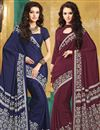 image of Classic Crepe Silk Printed Sarees Combo of 2