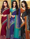 image of Incredible Combo of 3 Crepe Silk Party Wear Sarees