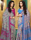 image of Combo of 2 Crepe Silk Casual Printed Sarees