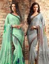 image of Riveting Chiffon Fabric Combo of 2 Designer Sarees