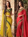 image of Captivating Combo of 2 Sarees In Chiffon Fabric