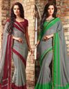 image of Enthralling Chiffon Fabric Party Wear Sarees Combo