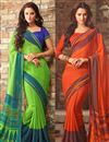 image of Chiffon Fabric Combo of 2 Party Wear Sarees