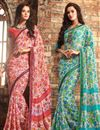 image of Enchanting Chiffon Fabric Combo of 2 Designer Sarees