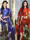 image of Gorgeous Set of 2 Casual Printed Georgette Sarees