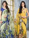image of Casual Wear Georgette Saree Combo of 2