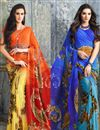 image of Casual Wear Georgette Printed Saree Combo of 2