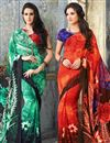 image of Casual Wear Fancy Georgette Saree Combo of 2