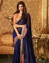 image of Ready To Ship Navy Blue Festive Wear Designer Georgette Saree
