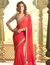 image of Embroidered Pink Color Georgette Fabric Designer Saree