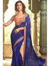 image of Excellent Navy Blue Color Designer Saree In Georgette Fabric With Embroidery