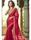 image of Excellent Magenta Color Designer Saree In Georgette Fabric With Embroidery