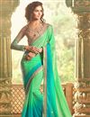 image of Compelling Georgette Fabric Party Wear Saree In Green Color