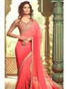 image of Soothing Georgette Fabric Peach Color Party Wear Saree With Net Blouse