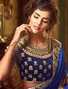 photo of Enigmatic Blue Color Silk Fabric Embroidered Saree