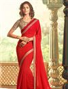 image of Excellent Red Color Designer Saree In Georgette Fabric With Embroidery