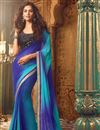 image of Excellent Blue Color Designer Saree In Georgette Fabric With Embroidery