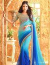 image of Aqua And Blue Color Designer Festive Wear Georgette Saree With Border Work