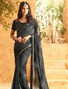 image of Soothing Georgette Party Wear Saree In Black Color With Unstitched Designer Blouse