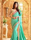image of Party Wear Sea Green Color Silk Designer Saree With Net Unstitched Blouse