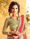 photo of Red And Peach Color Tempting Party Wear Georgette Saree With Unstitched Designer Blouse