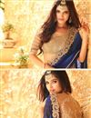 photo of Party Wear Blue And Black Color Georgette Designer Saree With Net Unstitched Blouse