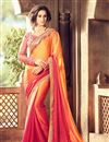 image of Gorgeous Orange And Pink Color Party Wear Designer Silk Saree With Fancy Work