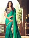 image of Designer Marvelous Georgette Green Color Beautiful Work Party Wear Saree